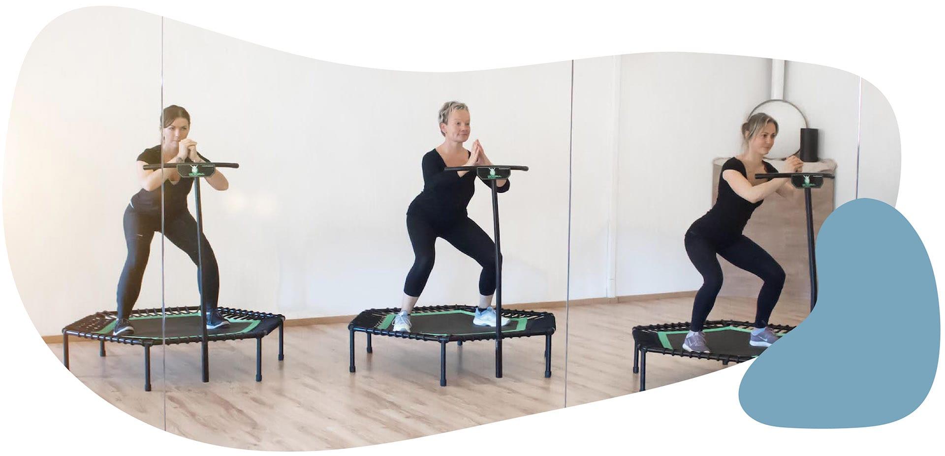 Femme Motion - Kurse Titelbild - Trainerinnen am Trampolin - Jumping Kurse