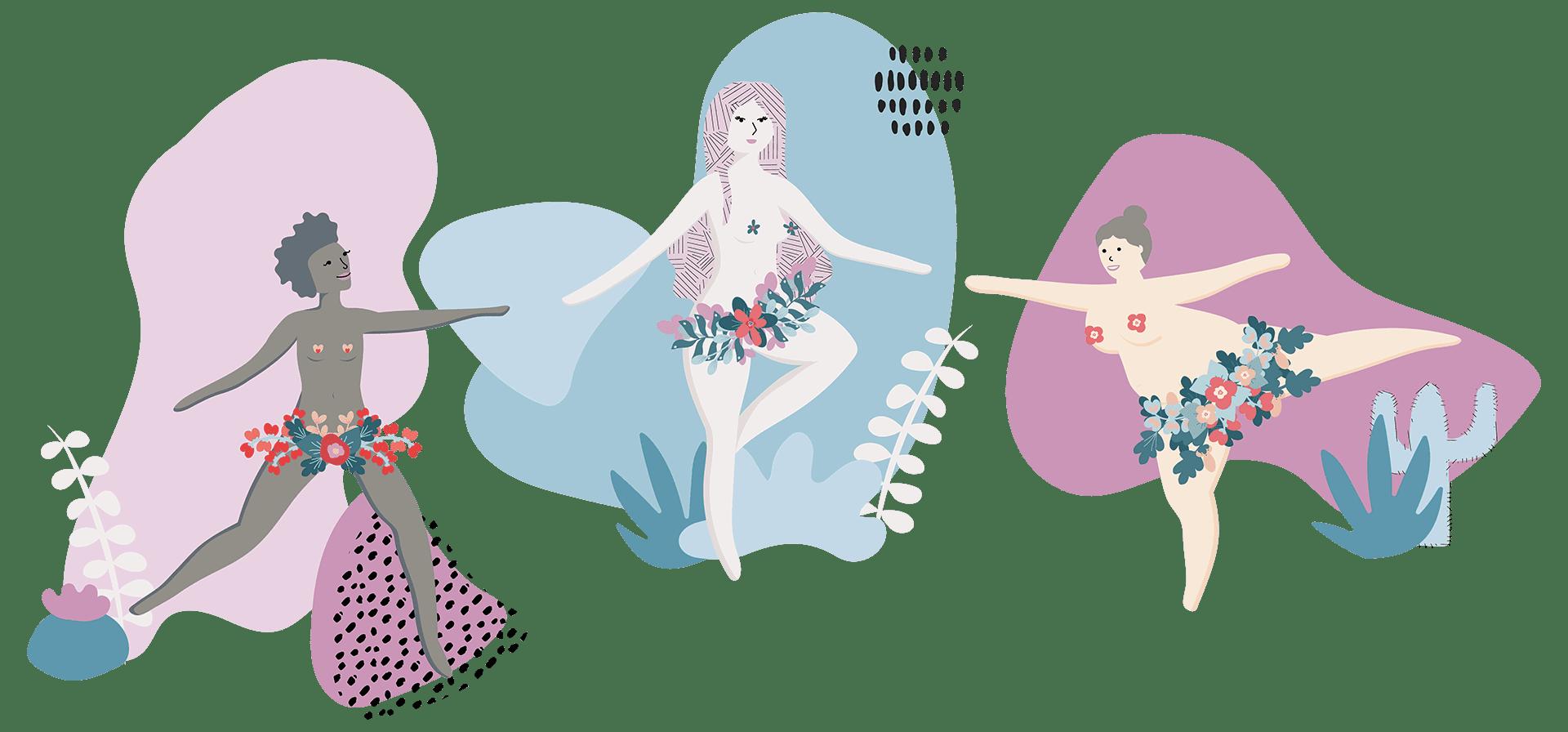 Femme Motion Illustration - Frauen Fitness in Villach - Komposition sportliche Frauen - Selbstvertrauen fürden eigenen Körper